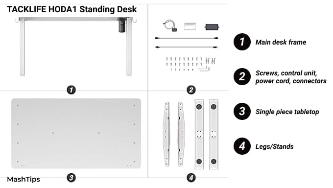 TackLife Standing Desk Assembly Units and Components