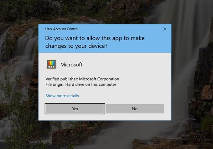 Windows 10 User Account Control permission