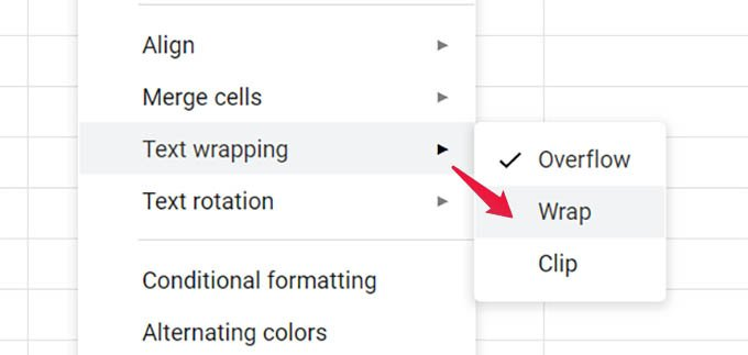 Wrap Text in Google Sheets Cells