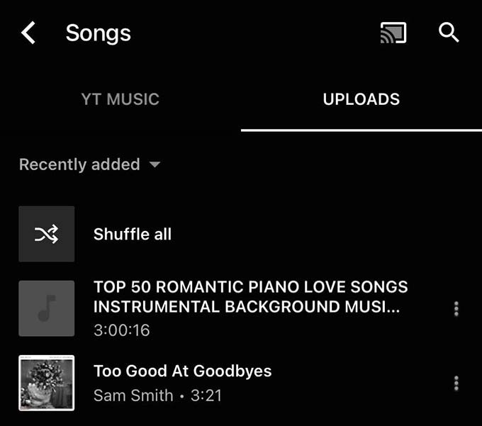 YouTube Music Mobile Uploads Library