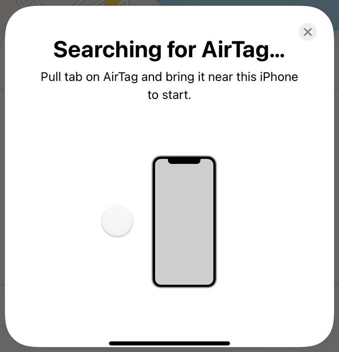 iPhone Find My app Searching for AirTag