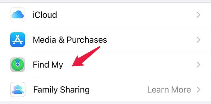 iPhone Find My Settings