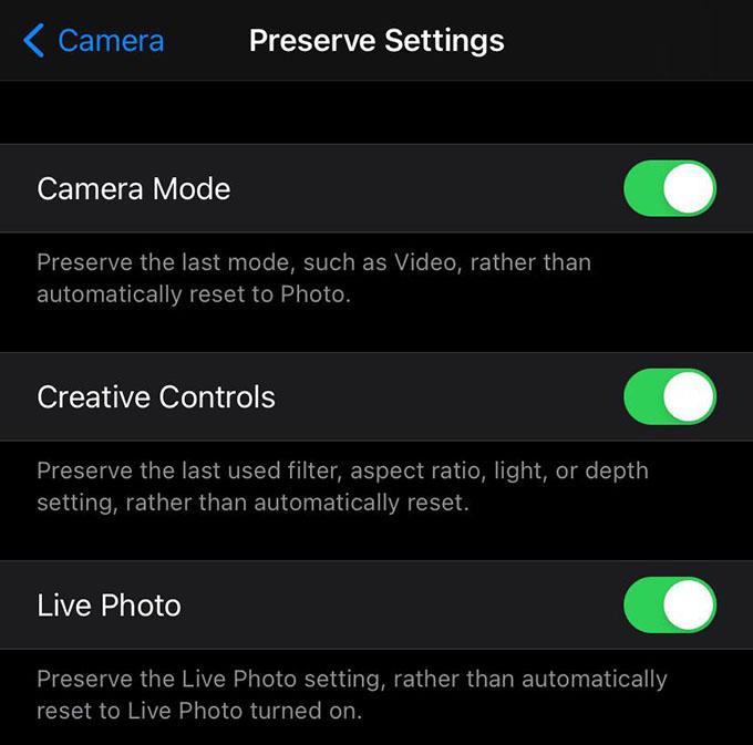 iPhone Preserve Camera Mode Settings