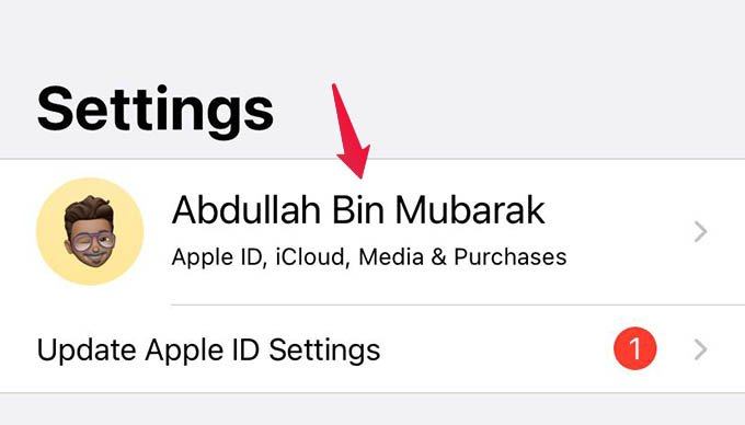 iPhone Settings Profile Apple ID