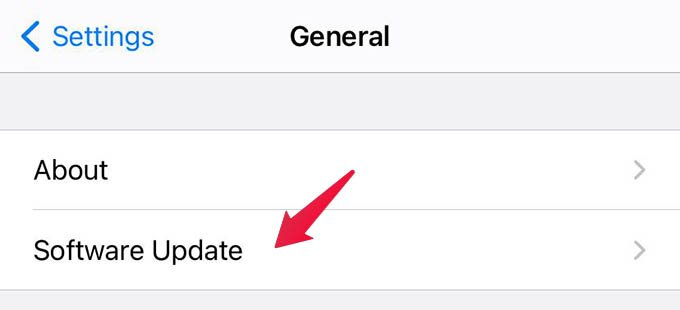 iPhone Software Update Settings
