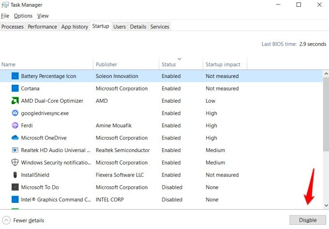 disable startup programs and apps to fix memory leak in windows