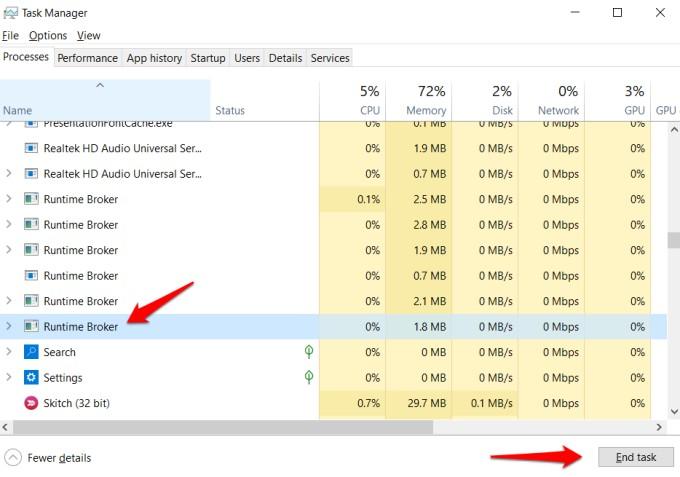 end runtime broker task in windows