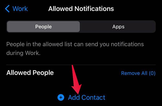 Add Contacts to Allowed People During Focus