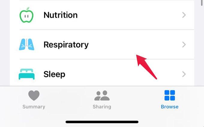 Apple Health App Browse Respiratory