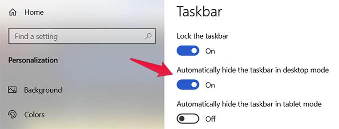 Automatically Hide Windows 10 Taskbar in Desktop Mode