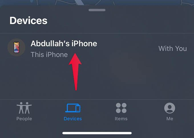 Choose iPhone on Find My App