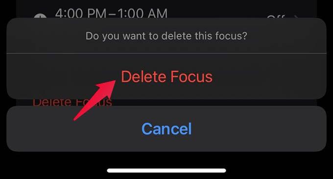Confirm to Delete Focus on iPhone