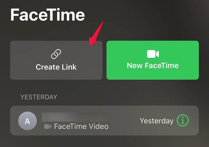 Create Link in FaceTime - FaceTime Video Call Link Create on iPhone
