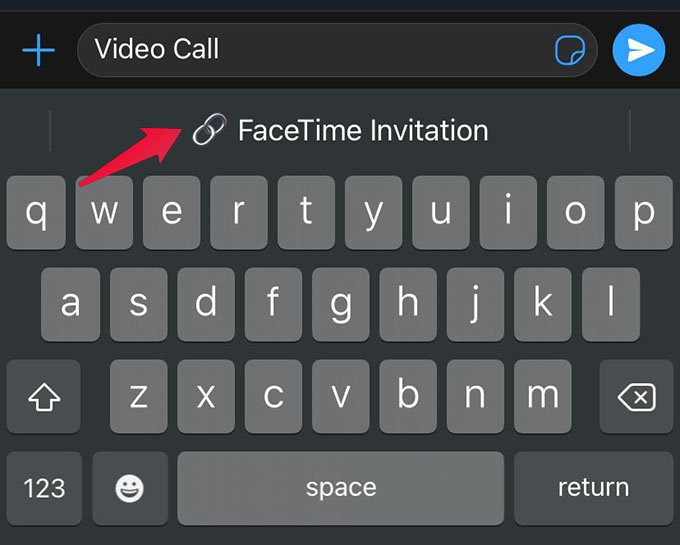 Create New FaceTime Invitation Using iPhone Keyboard