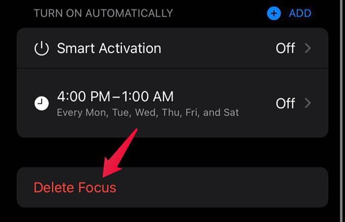 Delete Focus on iPhone