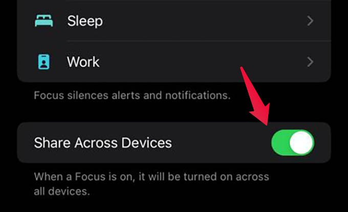 Enable Share Across Devices for Focus on iPhone