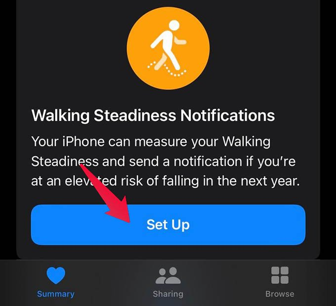 Enable Walking Steadiness Notifications on iPhone