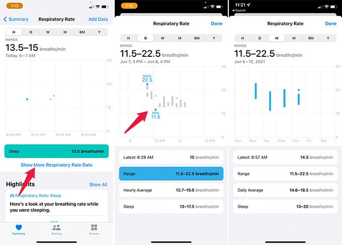 Find Sleep Respiratory Rate Graph on iPhone health App