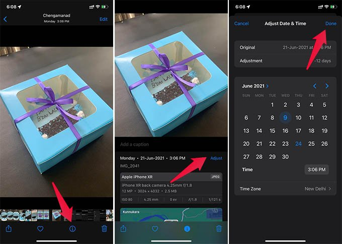 How to Change Time Stamp on iPhone Photo from Photos App