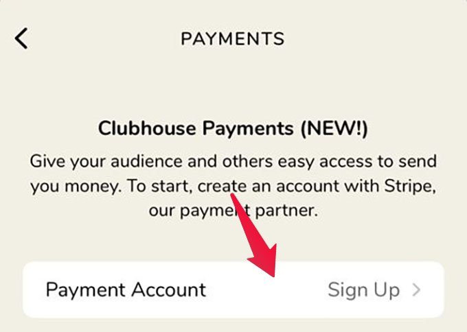 Payment Account Set Up on Clubhouse Using Stripe