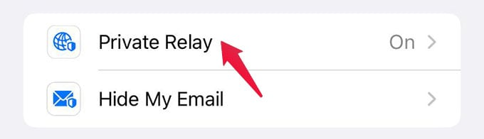 Private Relay Settings on iPhone