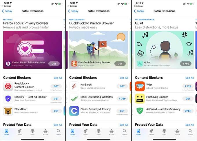Safari Extensions on iPhone App Store