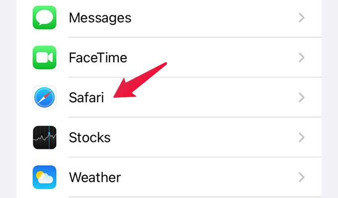 Safari Settings on iPhone