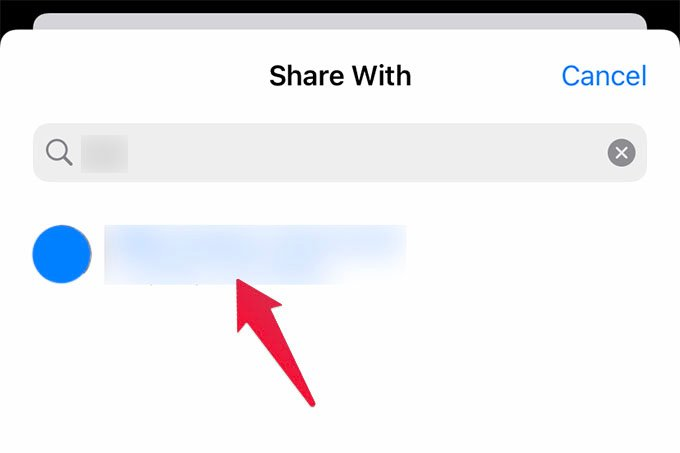 Select Contact to Share Apple Health Data with on iPhone