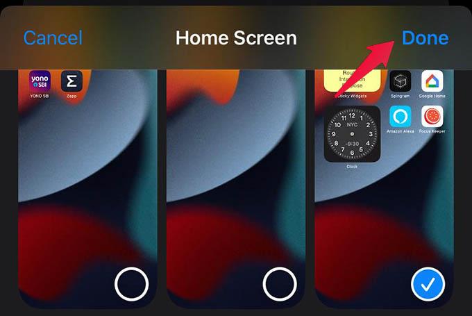 Select Custom Home Screen for Focus