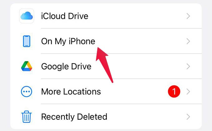 Select On My iPhone Drive in Files App