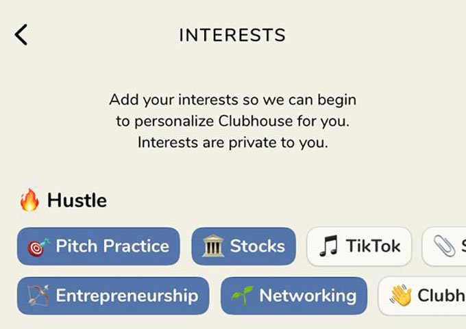 Select Topics Interests on Clubhouse App Android and iPhone
