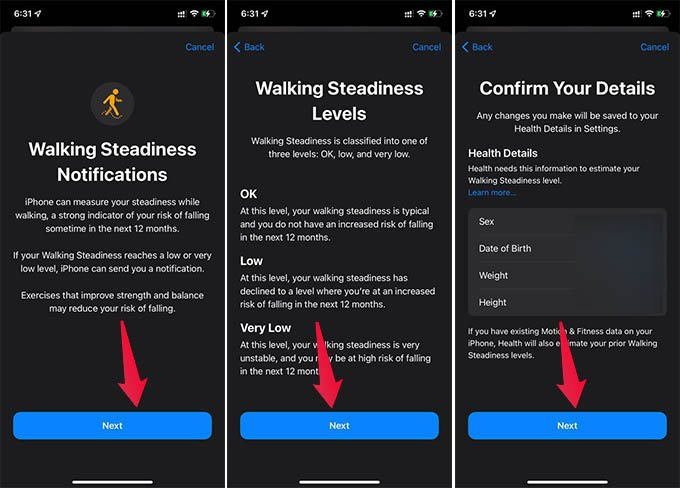 Set Up Walking Steadiness with Personal Information on iPhone