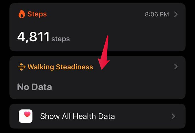 Walking Steadiness Data on iPhone