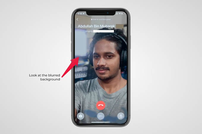 WhatsApp Portrait Mode Video Call on iPhone