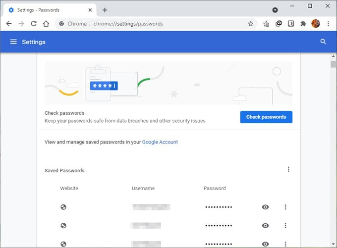Passwords imported to Google Chrome