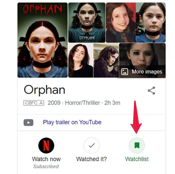 Add Movie to Google Watchlist