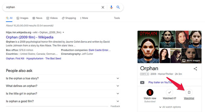 Add Movie to Watchlist in Google Search