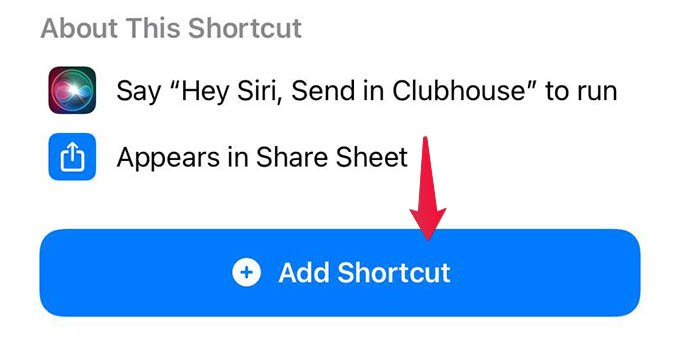 Add Send in Clubhouse Shortcut on iPhone