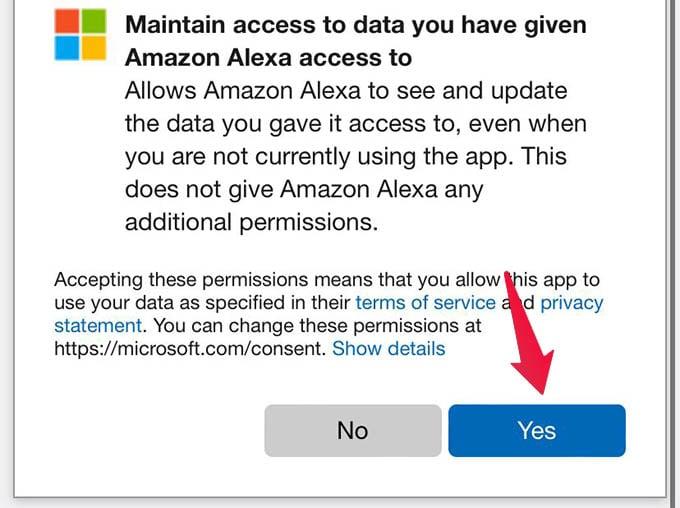 Alexa Allow to Access Skype Account