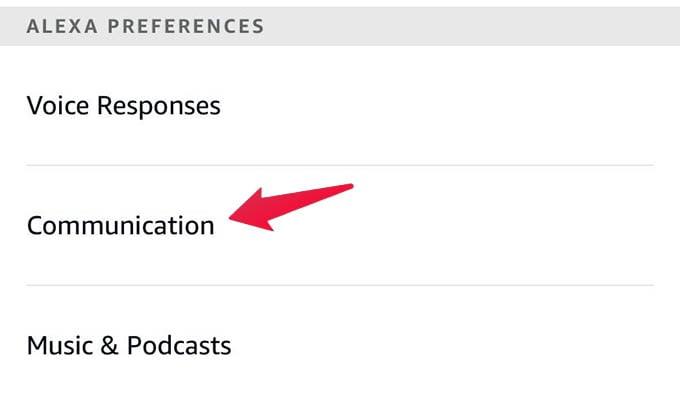 Amazon Alexa Communication Settings