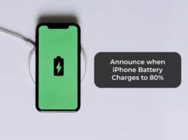 Announce when iPhone Battery Charges to 80%