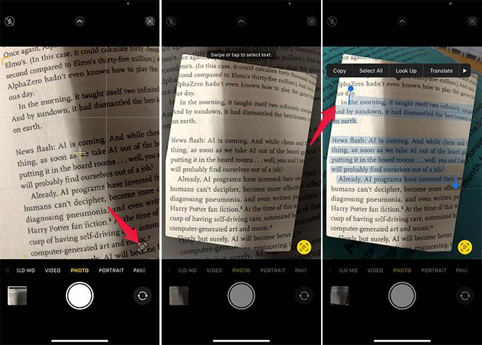 Capture Live Text Using Camera App on iPhone