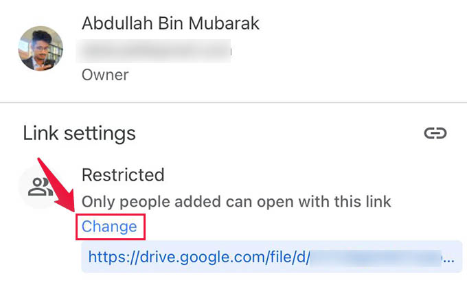 Change Link Sharing Permission in Google Drive