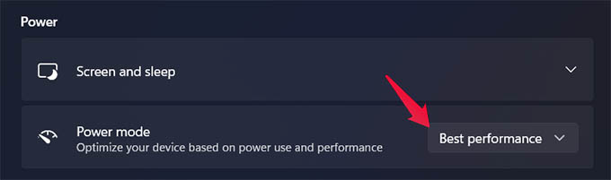 Change Windows 11 Power Mode