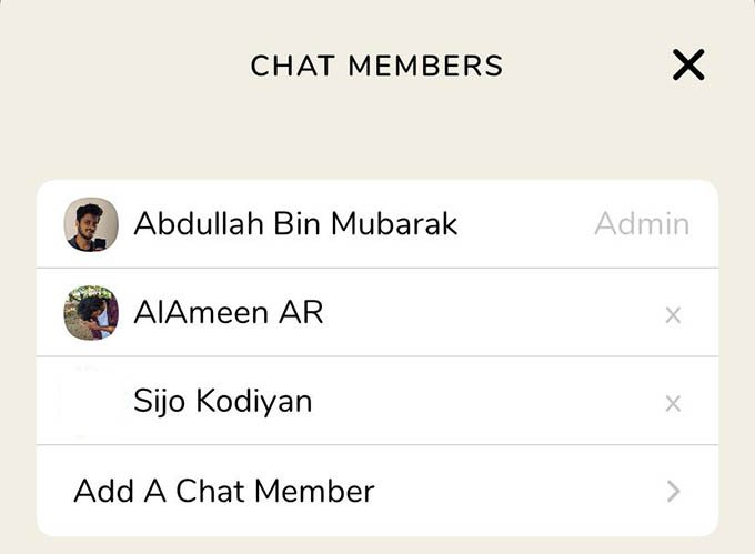Chat members in Clubhouse Backchannel Group Chat