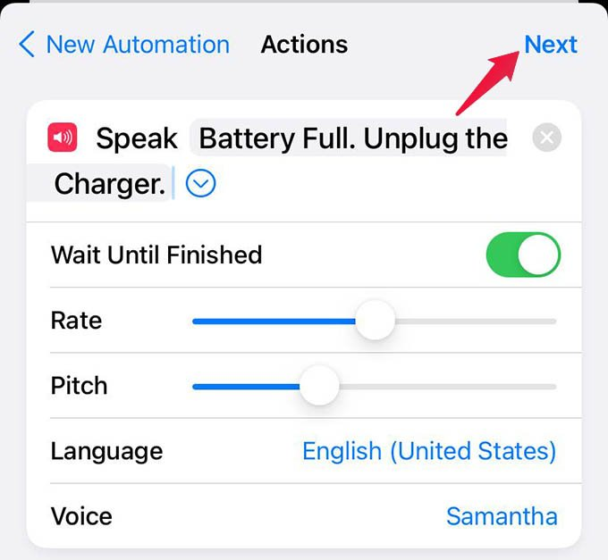 Customize iPhone Shortcut Speak Text Action and Tap Next