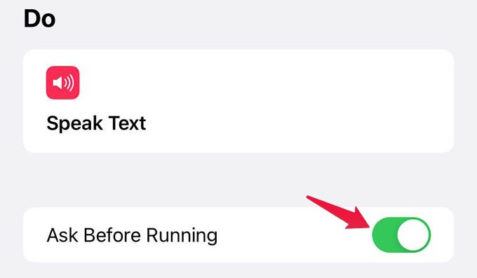 Disable Ask Before Running for Shortcut Automation on iPhone