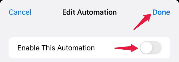 Disable Automation on iPhone