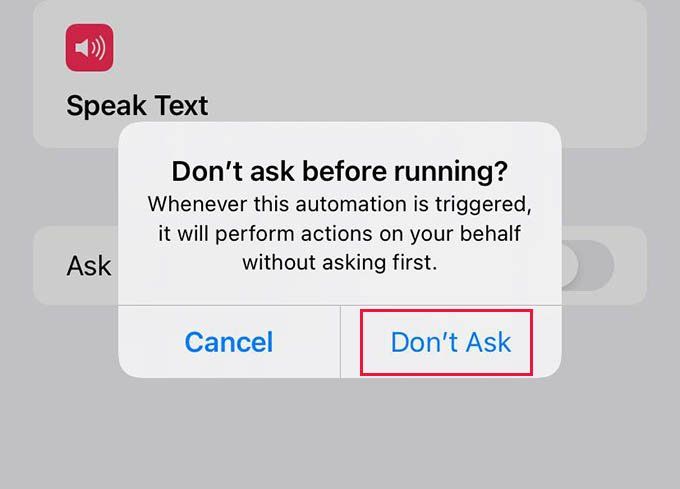 Dont Ask Before Running Automation on iPhone