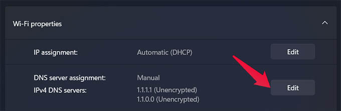 Edit DNS Server Settings in Windows 11